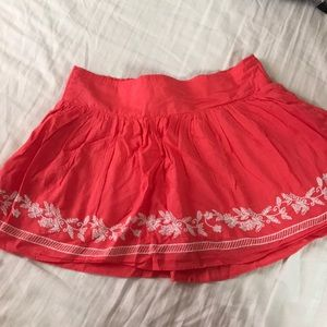 Coral Mini Skirt with Embroidery